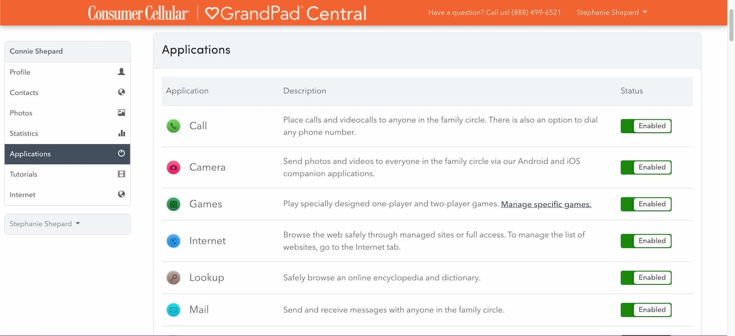 The page to manage apps included on the device as it appears in the GrandPad Central app.