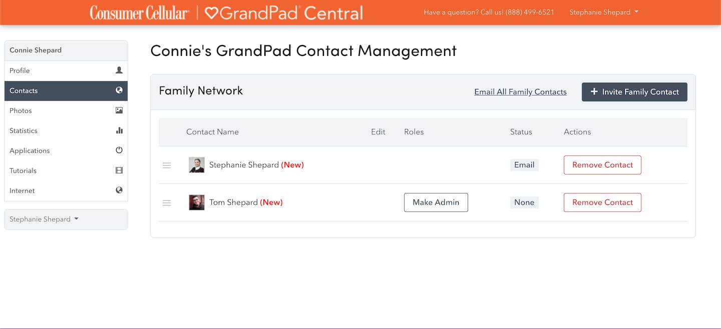 The page for adding companions as it appears in the GrandPad Central app.