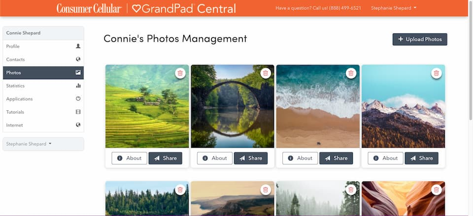 A sample of photo management functions in the GrandPad Central app.