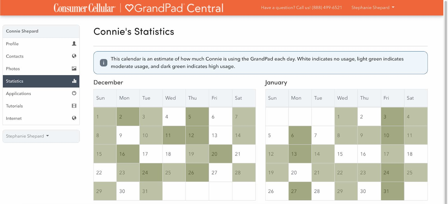 A sample of how to track usage in the GrandPad Central app.
