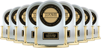 Trophies for Consumer Cellular's J.D. Power awards for top-rated customer service.