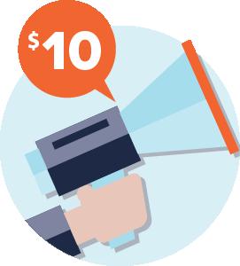 Hand holding bullhorn announces Consumer Cellular's $10 referral reward program.