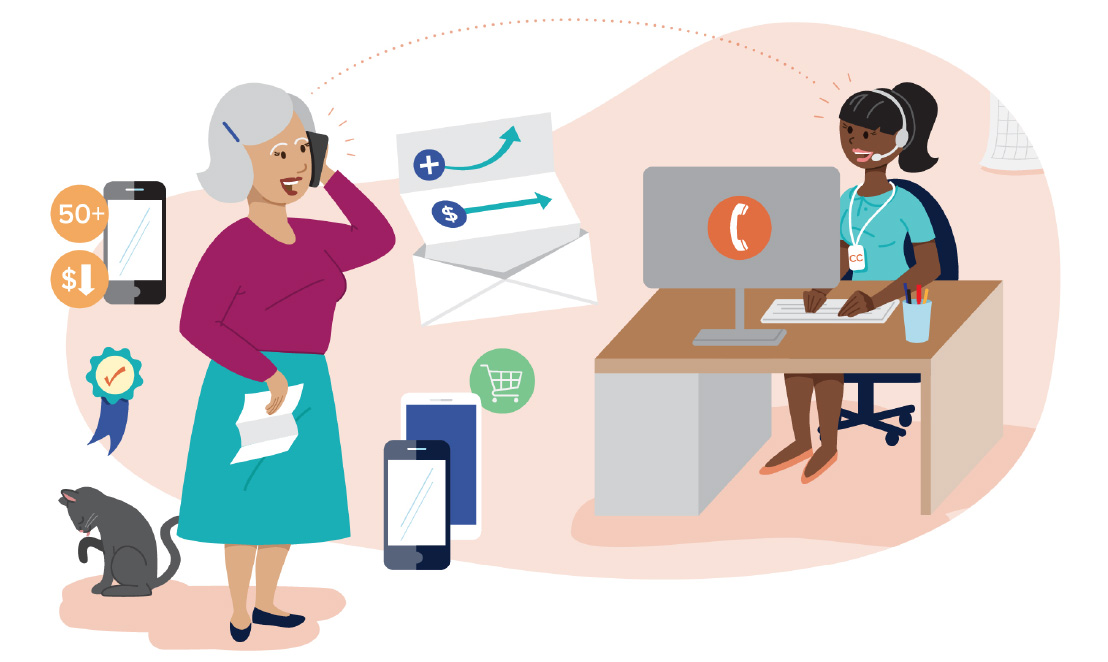 Assorted illustrations representing Consumer Cellular's history of outstanding customer service.