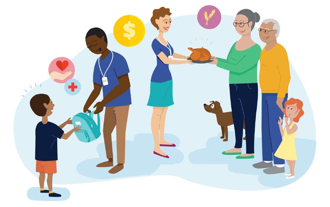 Assorted illustrations representing Consumer Cellular's committment to charitable giving.