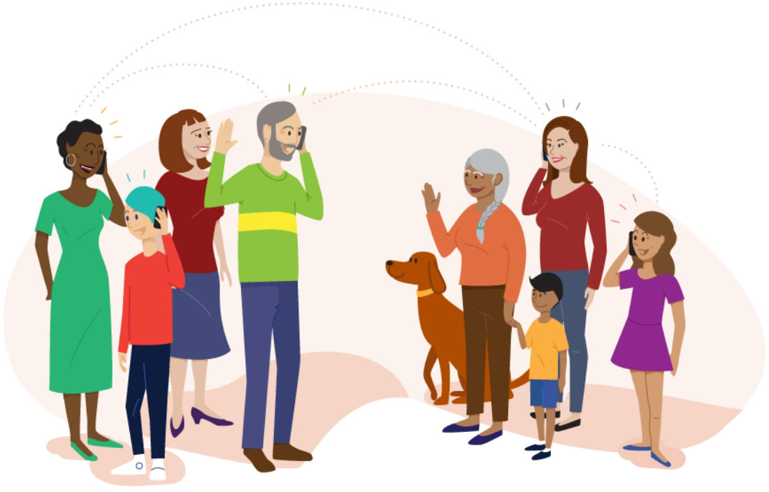 Assorted illustrations representing Consumer Cellular's core values as a company.